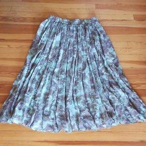 Sundance Aqua Floral Pleated Maxi Skirt